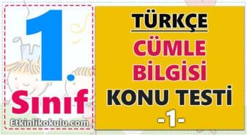 1. Sınıf Türkçe Cümle Bilgisi Konu Testi -1-