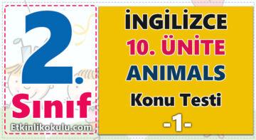 4. Sınıf İngilizce Dersi  10. Ünite -Animals- Konu testi -1-