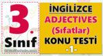 3. Sınıf İngilizce Adjectives (Sıfatlar) Gizli Kelimeyi Bulmaca