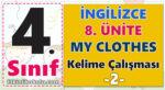 4. Sınıf İngilizce 8. Ünite -My Clothes - Kelime Çalışması -2-