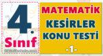 4. Sınıf Matematik - Kesirler Konu Testi -1-