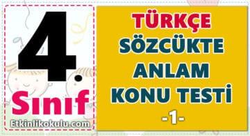 4. Sınıf Türkçe Sözcükte Anlam - Konu Testi -1-