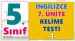 5. Sınıf İngilizce 7. Ünite Kelime Testi