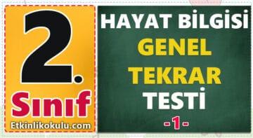 2. sınıf hayat bilgisi genel tekrar testi deneme sınavı