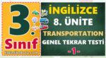 3. Sınıf İngilizce 8. Ünite Transportation Konu Testi -1-