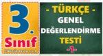 3. Sınıf Türkçe Genel Değerlendirme Testi -1-