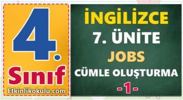 4. Sınıf İngilizce 7. Ünite Jobs Cümle Oluşturma -1-