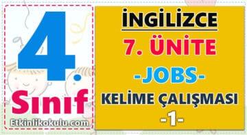 4. Sınıf İngilizce 7. Ünite (Jobs) Kelime Çalışması