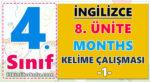 4. Sınıf İngilizce 8. Ünite Months  Kelime çalışması -1-