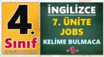 4. Sınıf İngilizce 7. Ünite Jobs Kelime Bulmaca -1-