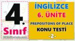 4. Sınıf İngilizce 6. Ünite Prepositions of Place Konu Testi -2-
